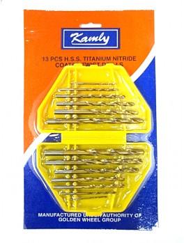 """KAMLY XM42113 13pc HSS Twist Drill 1/16""""-1/4"""" (Gold)"""