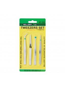 SELLERY 07-123 4pc Tweezer Set (Stainless Steel)
