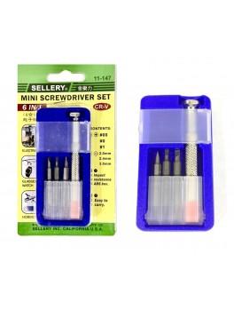 SELLERY 11-147 6-in-1 Mini Screwdriver Set, (-):2.0/2.4/3.0; (+):00/0/1