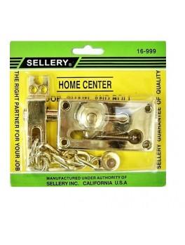 """SELLERY 16-999 Door Chain & Bolt 3 1/8""""x1 5/8""""x11/16""""x8"""" (Brass)"""