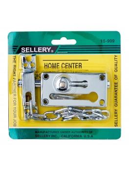 """SELLERY 16-999 Door Chain & Bolt 3 1/8""""x1 5/8""""x11/16""""x8"""" (Chrome)"""