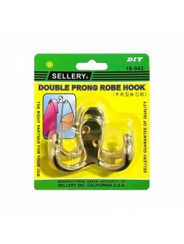 SELLERY 19-042BR Double Pronge Robe Hook (Zinc Alloy) - Colour: Brass (2pc/set)