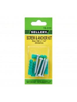 "SELLERY 19-310 Screw & Anchor Kit #10x1 1/4"" (5pc/set)"