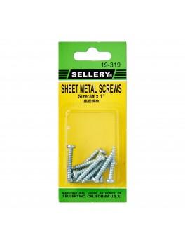 """SELLERY 19-319 Steel Metal Screws #8x1"""" (12pc/set)"""