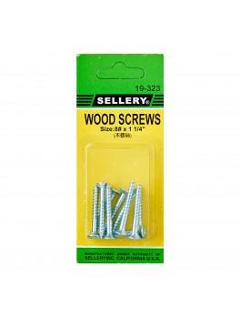 """SELLERY 19-323 Wood Screws #8x1.1/4"""" (10pc/set)"""