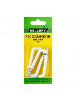 SELLERY 19-470 PVC Square Hooks 38mm (4pc/set)