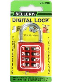 SELLERY 22-390 Digital Padlock 35mm (8 Digits) (Red)