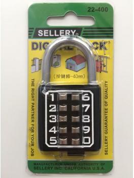 SELLERY 22-400 Digital Padlock 40mm (10 Digits) (Black)
