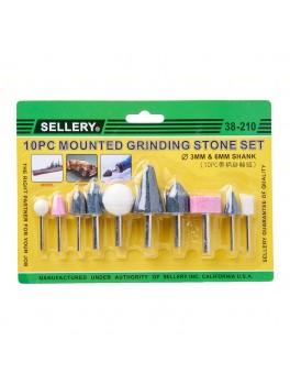 SELLERY 38-210 10pc Mounted Grinding Stone Set - 3mm & 6mm Diameter Shank