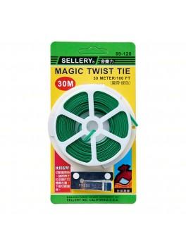 SELLERY 59-120 Magic Twist Tie 30 Meter/100Ftx2.8mm (Green PVC Coating)