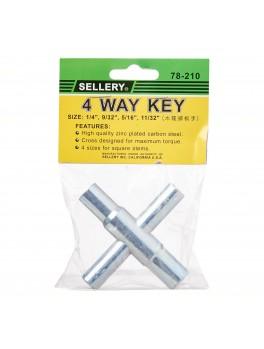 "SELLERY 78-210 4 Way Key, Size: 1/4""x9/32""x5/16""x11/32"""