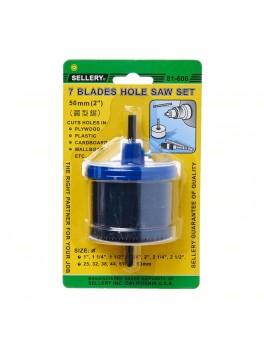 "SELLERY 81-606 7 Blade Hole Saw Set, 50mm (2"") Close Type, Body: Aluminum"