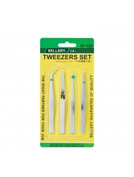 SELLERY 07-123 Stainless Steel Tweezer Set- 4pcs