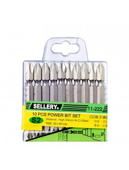SELLERY 11-222 10pc Power Bit Set, #2x65mm (+)