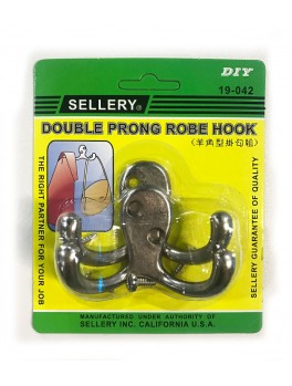 SELLERY 19-042SS  Double Pronge Robe Hook- Stainless Steel