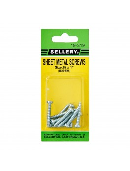 SELLERY 19-319 Steel Metal Screws #8x1""