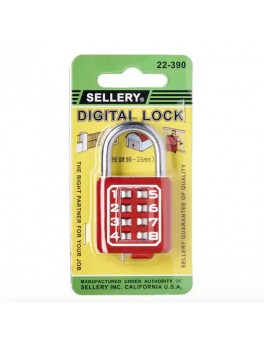 SELLERY 22-390 Digital Padlock 35mm- Red