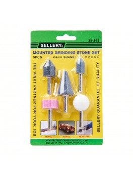 SELLERY 38-205 5pc Mounted Grinding Stone Set - 6mm Diameter Shank
