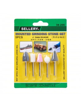 SELLERY 38-206 5pc Mounted Grinding Stone Set - 3mm Diameter Shank