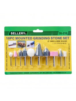SELLERY 38-210 10pc Mounted Grinding Stone Set - 3mm & 6mm Diameter Shank