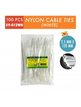 SELLERY 59-012 Nylon Cable Tie, Size: 2.5mm x 120mm (White)