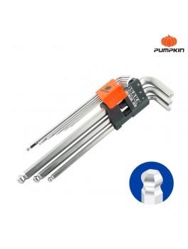 PUMPKIN 28503 Osaka 9pcs Extra Long Hex W/Ball Key Set 1.5-10mm