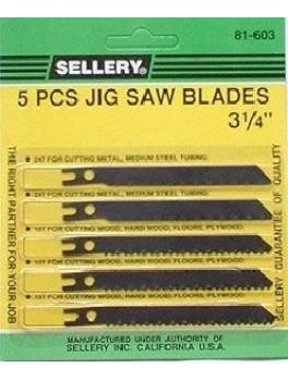 "SELLERY 81-603 5pc Jig Saw Blade Set 3.1/4"""