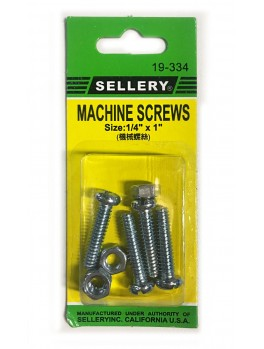 "SELLERY 19-334 Machine Screws, 1/4""x1"" (4pc/set)"