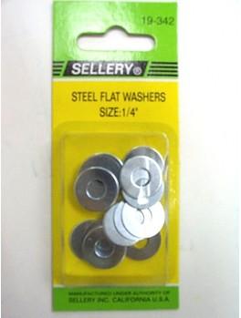 """SELLERY 19-342 Steel Flat Washers, 1/4"""" (16pc/set)"""