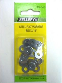 """SELLERY 19-343 Steel Flat Washers, 3/16"""" (25pc/set)"""