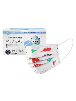 Mico 3-Ply Children Disposable Medical Mask With Earloop 50's - Dinosaur Design