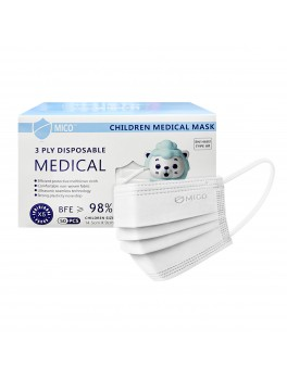 Mico 3-Ply Children Disposable Medical Mask With Earloop 50's (White)