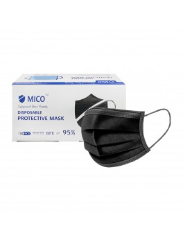 Mico 3-Ply Adult Disposable Medical Mask With Earloop 50's (Black)