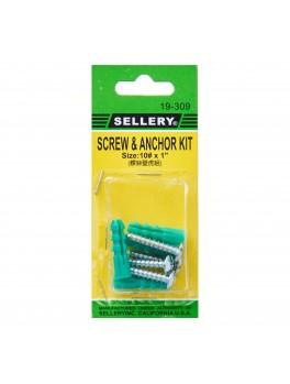 "SELLERY 19-309 Screw & Anchor Kit #10x1"" (6pc/set)"