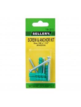 "SELLERY 19-311 Screw & Anchor Kit #10x1.1/2"" (4pc/set)"