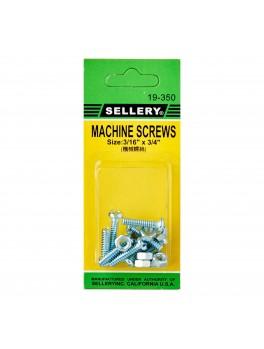 "SELLERY 19-350 Machine Screws 3/16""x3/4"" (8pc/set)"