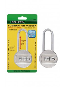 "SELLERY 22-291 Combination Padlock (4-Dial) S.S. Resettable 2.5"" Shackle Height"