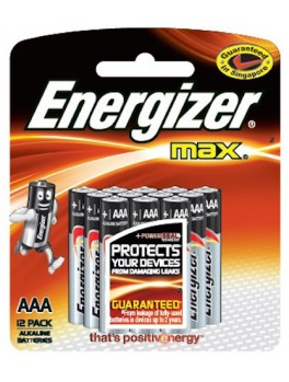 ENERGIZER E92 BP12 Alkaline Battery MAX, Size:AAA (12pcs/card)
