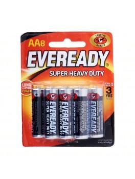 EVEREADY 1215 BP8 Carbon Zinc Battery, Super Heavy Duty, Size:AA (8pcs/card)