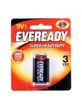 EVEREADY 1222 BP1 Carbon Zinc Battery, Super Heavy Duty, Size:9V (1pc/card)