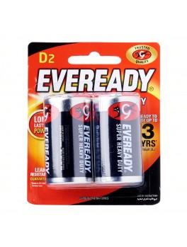 EVEREADY 1250 BP2 Carbon Zinc Battery, Super Heavy Duty, Size:D (2pcs/card)