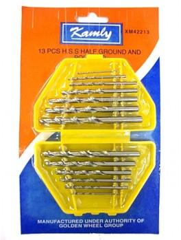 KAMLY XM42213 13pc HSS Half Ground & Polished Twist Drill- Chrome