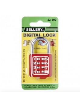 SELLERY 22-390 Digital Padlock 35mm- Red