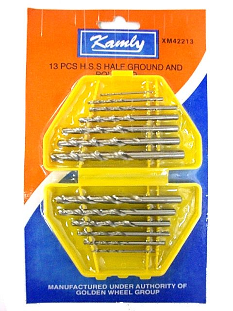 KAMLY XM42213 13pc HSS Half Ground & Polished Twist Drill- Chrome